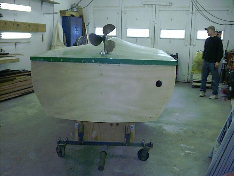 Transom plywood sanded.
