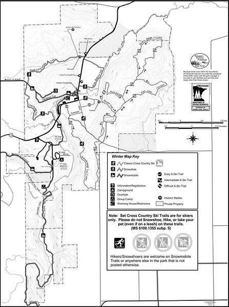 Forestville-Mystery Cave State Park (Winter Map)