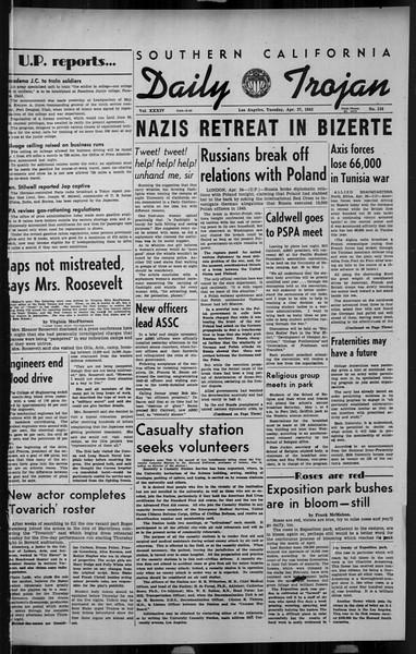 Daily Trojan, Vol. 34, No. 134, April 27, 1943