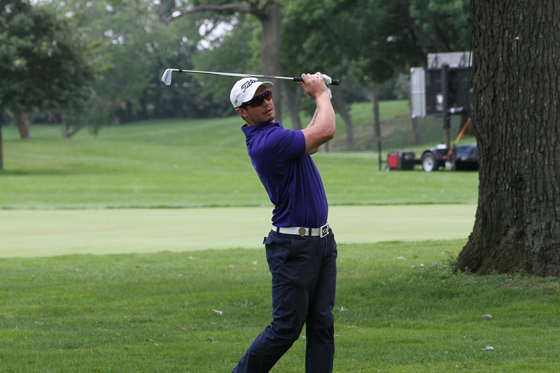 Geoff Drakeford of Australia hits a shot during the first round of the 2014 Western Amateur. Drakeford and Zecheng Dou lead the tournament following the first round.