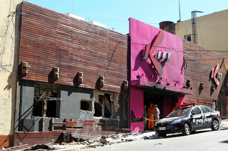 ". An exterior view of Boate Kiss nightclub is seen after a fire occurred, in the southern city of Santa Maria, 187 miles (301 km) west of the state capital of Porto Alegre, January 27, 2013. A fire in a nightclub killed at least 245 people in southern Brazil on Sunday when a band\'s pyrotechnics show set the building ablaze and fleeing patrons were unable to find the emergency exits in the ensuing panic, officials said. The blaze in the southern city of Santa Maria was started when a band member or someone from its production team ignited a flare, which then set fire to the ceiling, said Luiza Sousa, a civil police official. The fire spread ""in seconds,\"" she said. An estimated 500 people were in the Boate Kiss nightclub when the fire broke out early on Sunday, and many were unable to find the exits as dark smoke quickly filled the room. At least one exit was locked, trapping hundreds inside to die, many from asphyxiation as they inhaled smoke, police said. REUTERS/Edison Vara"