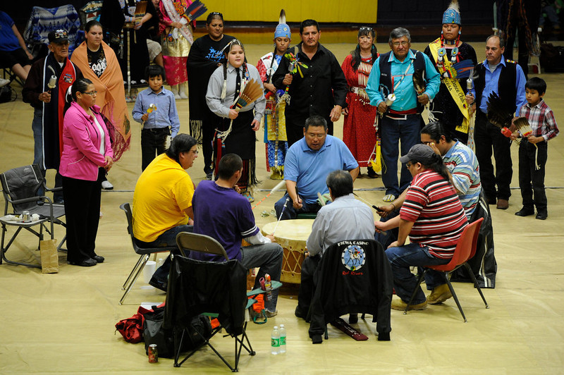 . Traditional American Indian song and dance during the 22nd annual Sand Creek Descendants Gathering in Anadarko Oklahoma Saturday, December 1st, 2012. Anadarko lost 21-14. Nearly 100 descendants of the Sand Creek Massacre gathered at the Anadarko High School gym for traditional Gourd dancing, food and other activities and also to get updates on legal action towards the U.S. for the massacre which left over 150 Cheyenne and Arapaho Indians dead in southeast Colorado November 29th, 1864. The Denver Post/ Andy Cross