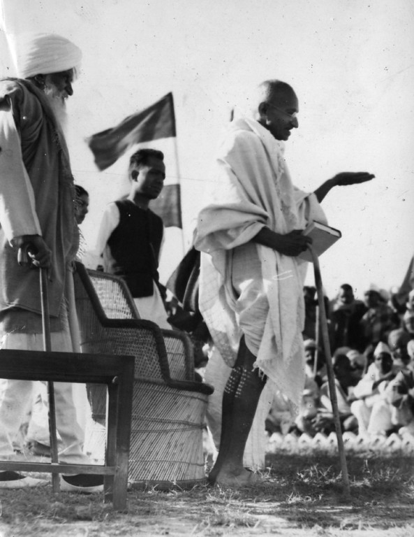 . Indian thinker and nationalist leader Mahatma Gandhi (Mohandas Karamchand Gandhi, 1869 - 1948) speaking at a rally, circa 1935.  (Photo by Hulton Archive/Getty Images)