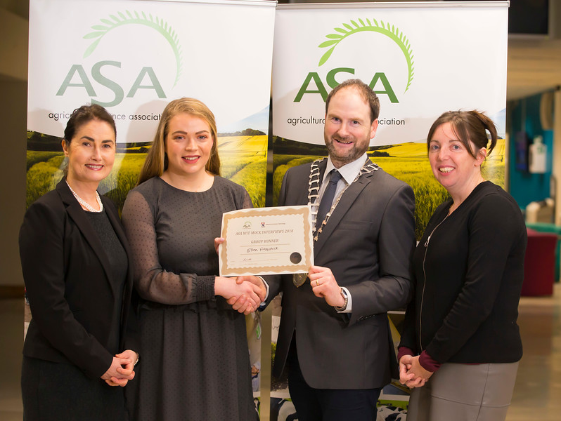 Pictured at the Waterford Institute of Technology- ASA (Agricultural Science Association) Student Mock Interviews. Pictured are Denise Stuart, Seed Technology Ltd, Ellen Fitzpatrick, student, Derrie Dillon, President of ASA association, Anne-Marie Butler, Ulster Bank. Picture: Patrick Browne
