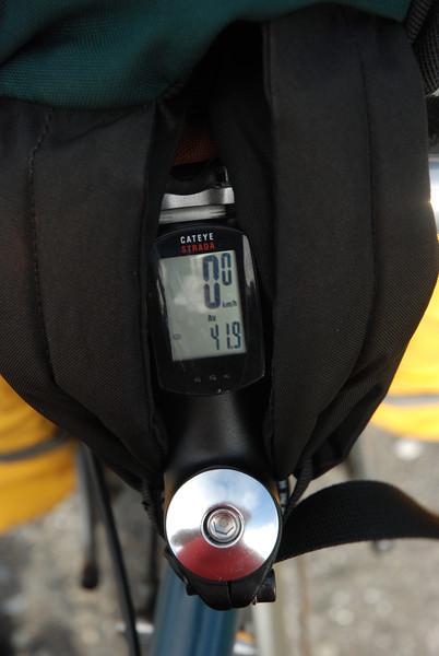 Vitesse moyenne sur le plat avec vent de dos. 42km/h avant d'arrêter. La traverse Matane > Baie-Comeau a été annulée à cause du vent.