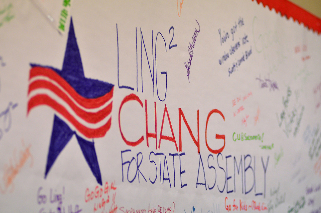. A Ling-Ling Chang for state assembly sign hangs at her campaign headquarters in Brea, Tuesday, June 3, 2014.  (Photo by Robert Huskey)