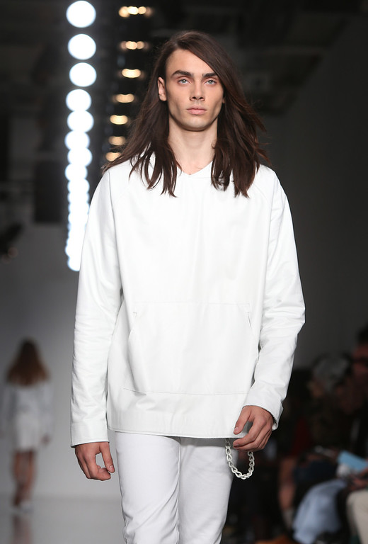 . A model wears a creation by designer Matthew Miller during London Men\'s spring summer fashion collections 2014, in London, Tuesday, June 18, 2013. (Photo by Joel Ryan/Invision/AP)