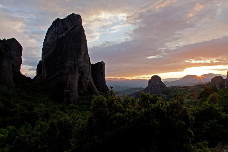 """Rock formation outside of Kalambaka near the Metéora (Greek: Μετέωρα, """"suspended rocks"""")"""