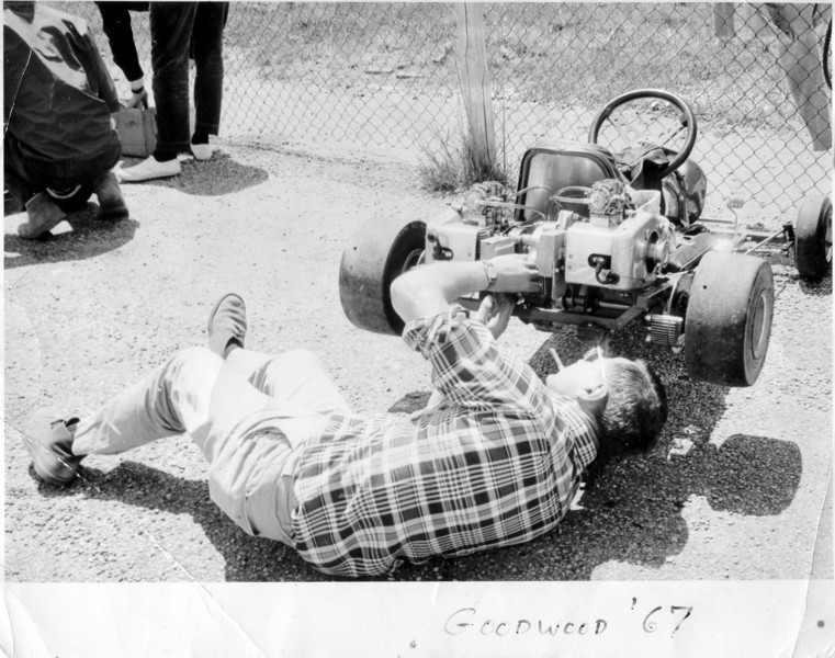 Dad at work on our last and fastest version, before turning to Formula Ford in 1968. Photo at Goodwood, Ontario.