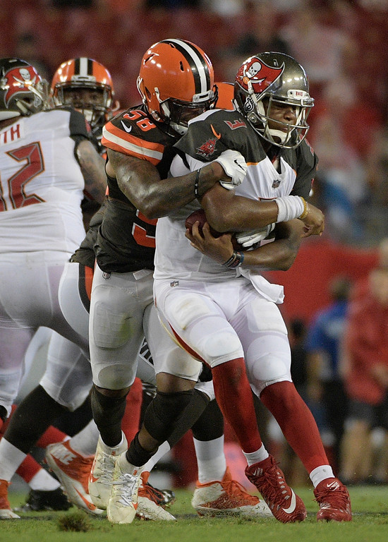 . Tampa Bay Buccaneers quarterback Jameis Winston (3) is sacked by Cleveland Browns inside linebacker Christian Kirksey during the third quarter of an NFL preseason football game Saturday, Aug. 26, 2017, in Tampa, Fla. (AP Photo/Phelan Ebenhack)
