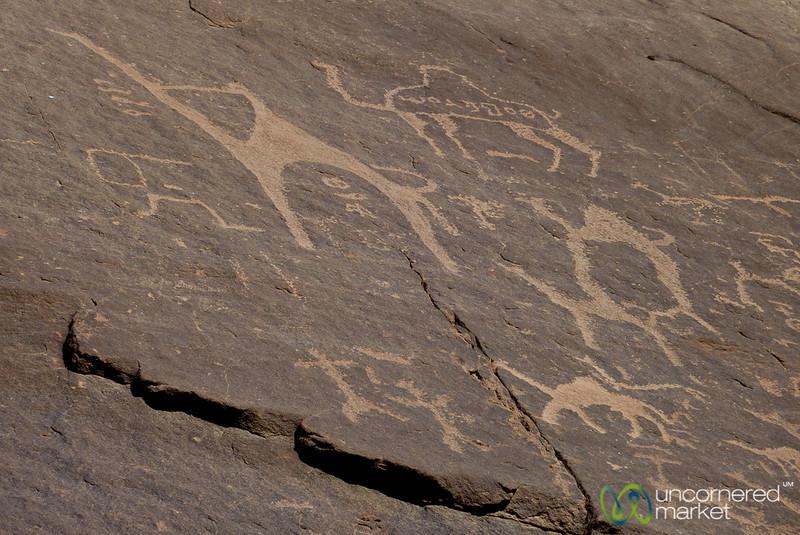Ancient Rock Paintings of Camels - Wadi Rum, Jordan