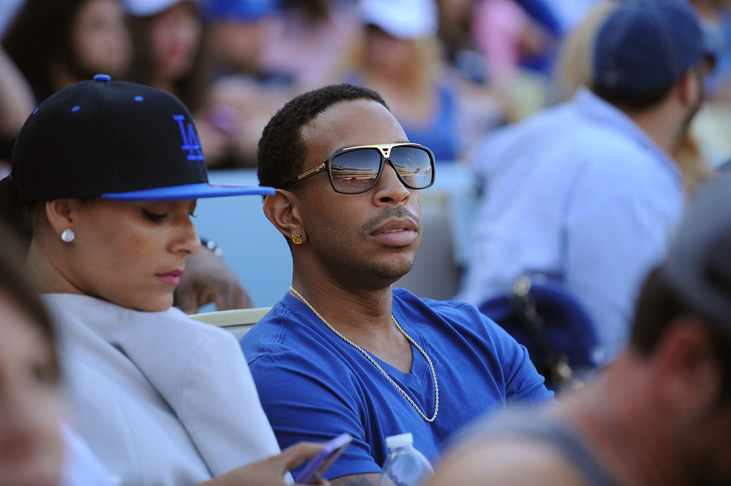 . In this handout photo provided by the Los Angeles Dodgers, Ludacris attend the Los Angeles Dodgers vs St. Louis Cardinals game from the exclusive Lexus Dugout Club May 24, 2013 in Los Angeles, California.  (Photo by Jon SooHoo/Los Angeles Dodgers, LLC via Getty Images)