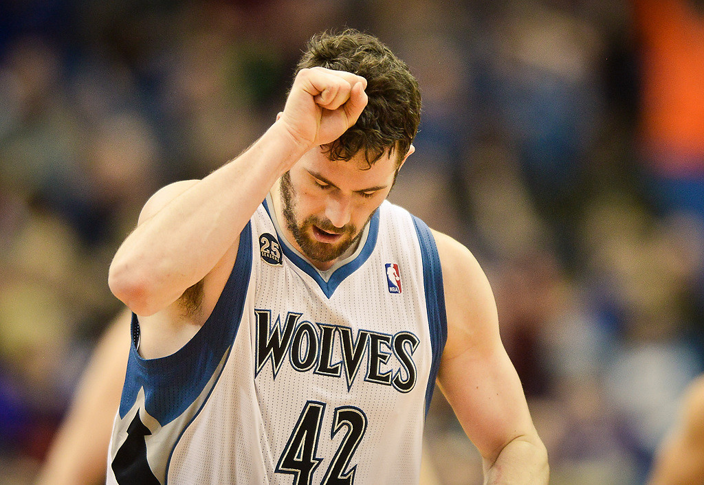 . Kevin Love reacts after sinking a second consecutive three-pointer in the third quarter. He outscored the Grizzlies 18-16 in the third quarter as the Wolves scored 30 and erased a 13-point halftime deficit. (Pioneer Press: Ben Garvin)