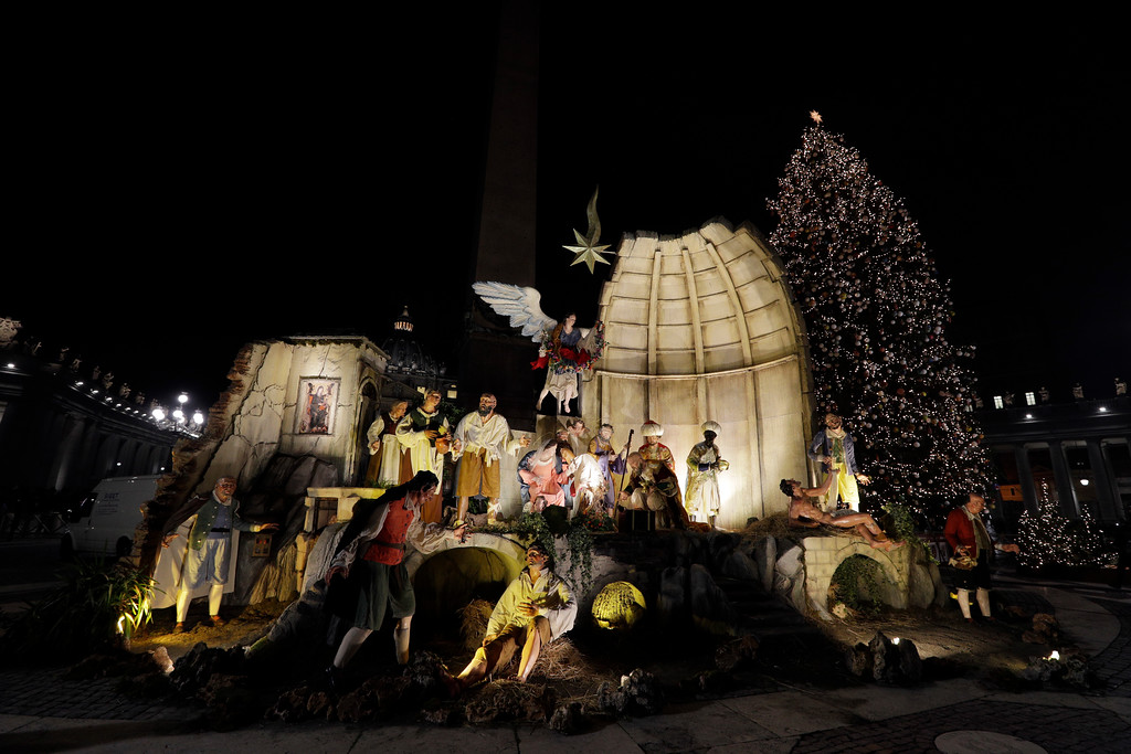 . A view of the Nativity Scene that was set in St. Peter\'s Square at the Vatican, Thursday, Dec. 7, 2017. (AP Photo/Andrew Medichini)