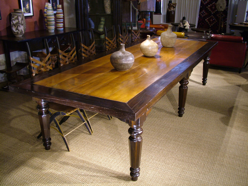 Dining table made of exotic antique hard woods Brauna and Peroba do Campo.