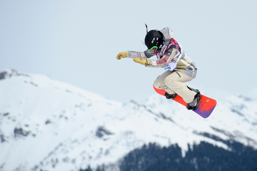 . US Karly Shorr competes in the Women\'s Snowboard Slopestyle Final at the Rosa Khutor Extreme Park during the Sochi Winter Olympics on February 9, 2014. FRANCK FIFE/AFP/Getty Images