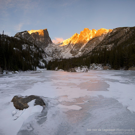 Dream Lake at sunrise in winter.
