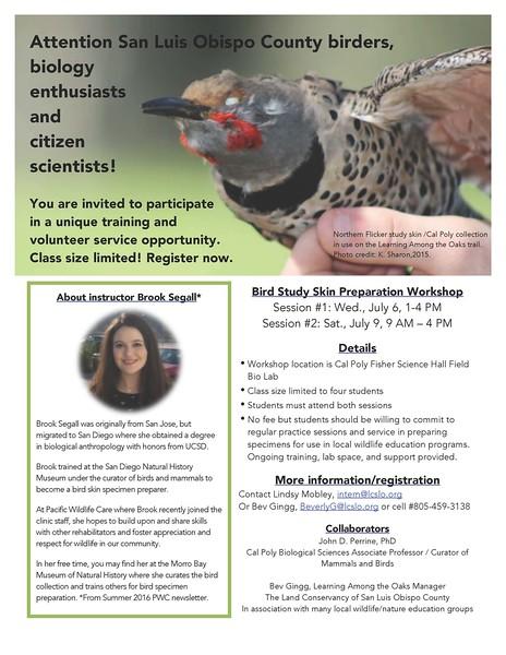 Bird Study Skin Preparation Workshop