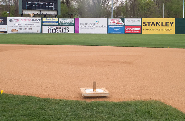 05/02/19 Wesley Bunnell | Staff Work at New Britain Stadium is underway getting the field in shape for Friday's upcoming New Britain Bees home opener. Second base sits upside down in the infield as prep work goes on around it.