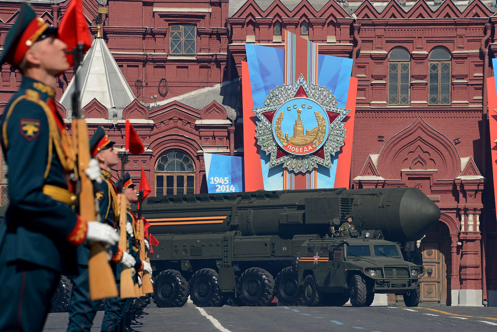 . A Russian Topol-M intercontinental ballistic missile launcher drives at the Red Square in Moscow, on May  9, 2014, during a Victory Day parade. Thousands of Russian troops marched today in Red Square to mark 69 years since victory in World War II in a show of military might amid tensions in Ukraine following Moscow\'s annexation of Crimea. AFP PHOTO / KIRILL KUDRYAVTSEV/AFP/Getty Images