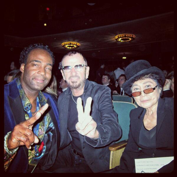 . Marcus Glenn with Ringo Starr and Yoko Ono at the Grammy Awards in Los Angeles. Photo courtesy @MarcusGlennart on Twitter