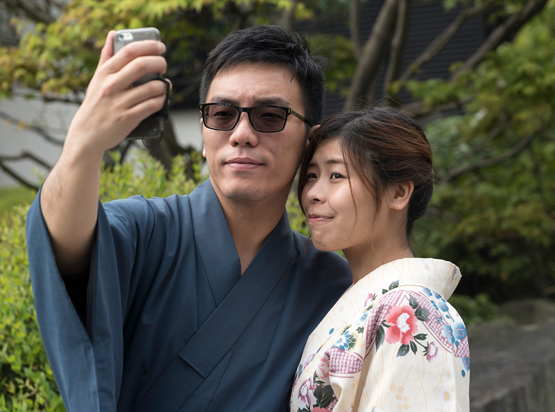 Japanese couple in traditional yukata