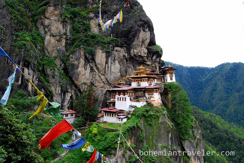 Tigers Nest Monastery and prayer flags (2).jpg