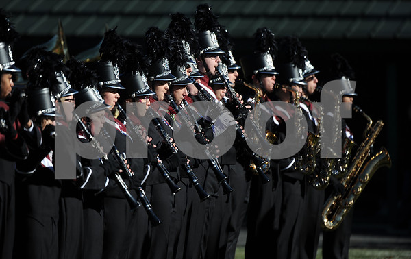 11/23/2017 Mike Orazzi | Staff The Bristol Central High School Marching Band during the annual Battle For The Bell at Muzzy Field Thursday.