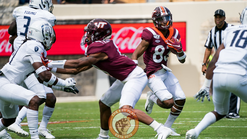 Tayvion Robinson (83) looks for an open lane to run into during the matchup against Old Dominion University in Lane Stadium on Saturday, Sept. 7, 2019. (Photo: Cory Hancock)