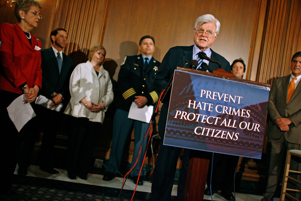 . WASHINGTON - APRIL 12:  With members of law enforcement and human rights organizations, Sen. Ted Kennedy (D-MA) speaks during a news conference at the U.S. Capitol April 12, 2007 in Washington, DC. Sen. Kennedy and Sen. Gordon Smith (R-OR) introduced the Local Law Enforcement Hate Crimes Prevention Act, which has been named in honor of Matthew Shepard, who was murdered when he was brutally beaten, tied to a fence and left for dead in an anti-gay hate crime in Wyoming in October 1998.  (Photo by Chip Somodevilla/Getty Images)