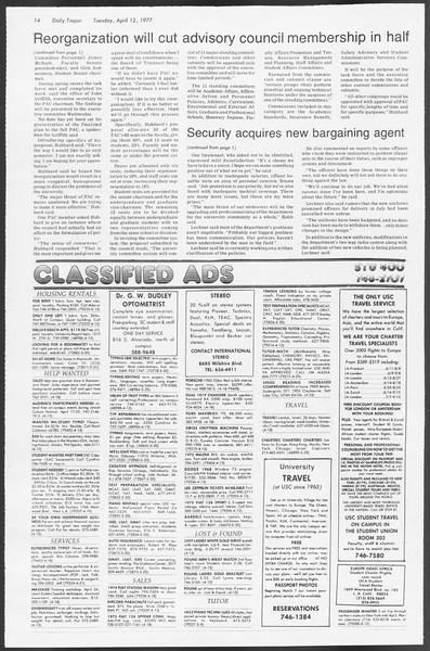 Daily Trojan, Vol. 71, No. 37, April 12, 1977