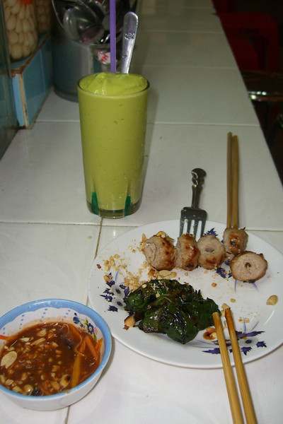 Avocado Shake, Grilled Pork and Beef in Beetle Nut Leaves - Ho Chi Minh City, Vietnam