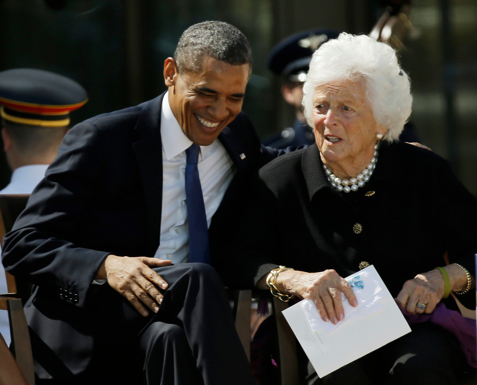 . President Barack Obama laughs with former first lady Barbara Bush during the dedication of the George W. Bush Presidential Center Thursday, April 25, 2013, in Dallas. (AP Photo/David J. Phillip)