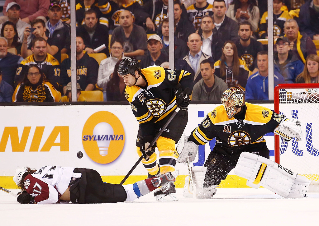 . Tuukka Rask #40 of the Boston Bruins makes a save behind teammate Adam McQuaid #54 and Steve Downie #17 of the Colorado Avalanche in the first period during the game on October 10, 2013 at TD Garden in Boston, Massachusetts. (Photo by Jared Wickerham/Getty Images)