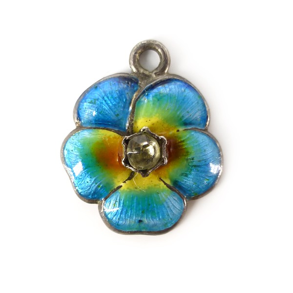 Antique Edwardian Pearce & Thompson Silver Blue Enamel Pansy Charm