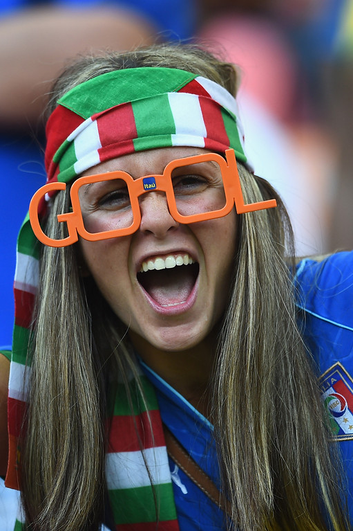. \\ An Italy fan cheers during the 2014 FIFA World Cup Brazil Group D match between England and Italy at Arena Amazonia on June 14, 2014 in Manaus, Brazil.  (Photo by Christopher Lee/Getty Images)