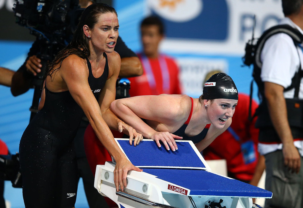 . Natalie Coughlin (L) and Missy Franklin of the USA cheer on their teammate during the Swimming Women\'s4x100mFreestyle on day nine of the 15th FINA World Championships at Palau Sant Jordi on July 28, 2013 in Barcelona, Spain.  (Photo by Al Bello/Getty Images)