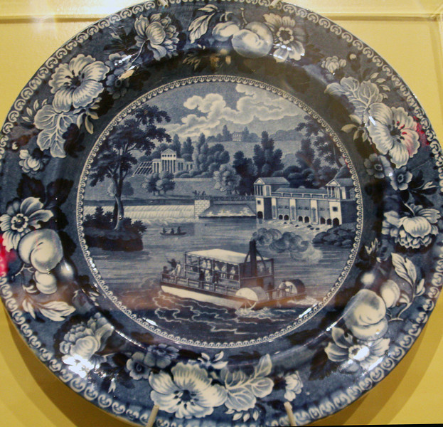 Fairmount Waterworks plate showing a very early steamboat in the Schuylkill River