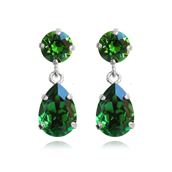 Mini Drop Earrings / Dark Moss Green / Rhodium