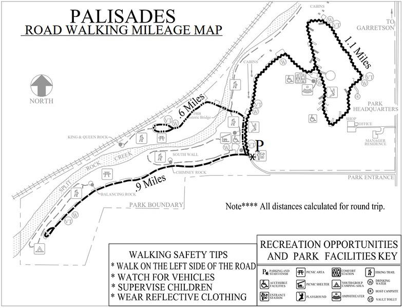 Palisades State Park (Road Walking Map)