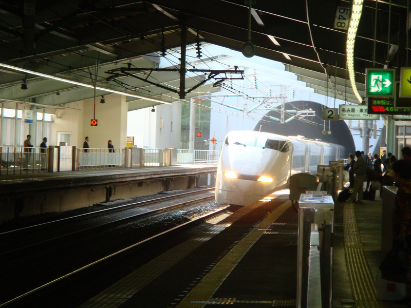 The arrival of a bullet train in Shinkansen in Tokyo, Japan