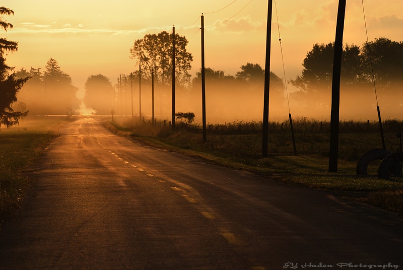 There was not a lot of traffic getting to work yesterday. However, it was quite hard as the scenery was really cool with the fog running alongside the road. I took this shot facing the sun and reduced the exposure way down. Have a great day - JY