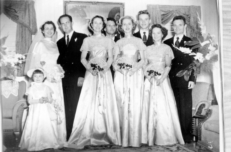 From left to right; Sharon Elizabeth Curry, Maria Jacob Smock, Walter'Rip' Smock, Frieda Jacob Wick, Robert E. Wick, unknown, Daria Jacob Curry, Carl P. Curry Walter 'Rip' Smock and Maria Jacob Wedding September 9, 1950