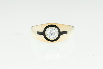 Art Deco Gold, Diamond and Enamel Ring