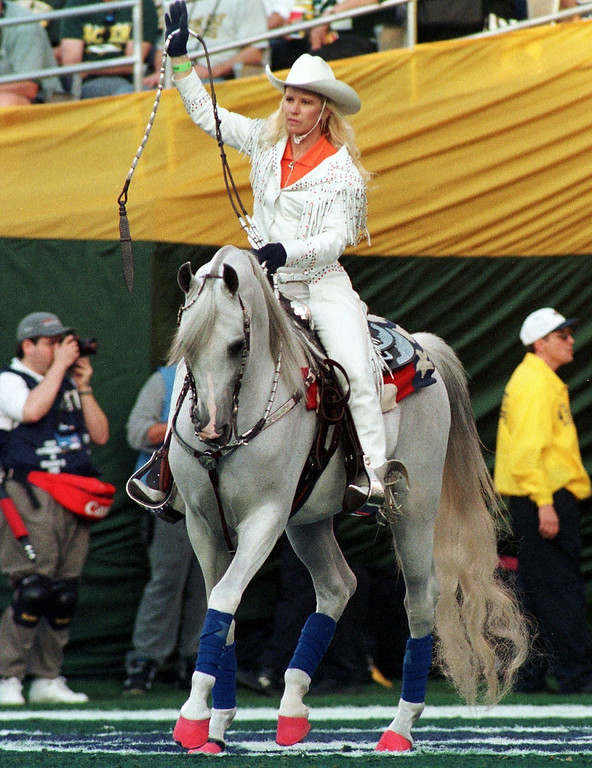 . Thunder the Denver Broncos mascot takes to the field  after a Denver score in Super Bowl XXXII in San Diego CA. The  Denver Broncos defeated the Green Bay Packers 31-24. (John Leyba/The Denver Post)