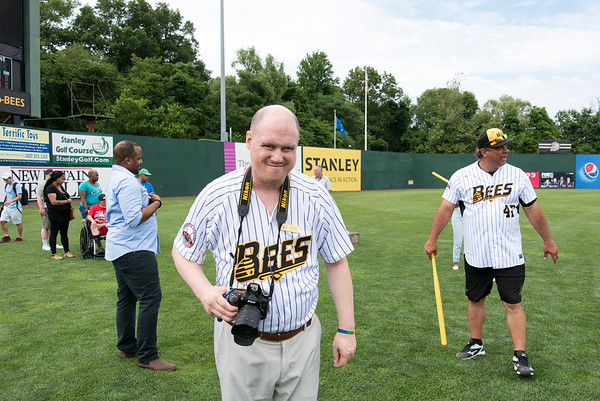 07/02/19 Wesley Bunnell | Staff The New Britain Bees welcomed group home members to New Britain Stadium as part of the Beautiful Lives Project on Tuesday July 2, 2019.Bees players and coaches played wiffle ball games on the outfield grass with the participants. Bill Lewis with the Journey Found program takes photos of fellow participants.