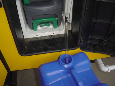 Removing water and adding antifreeze to the toilet