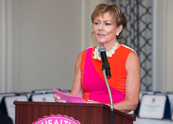 10/10/19 Wesley Bunnell | StaffrrThe CT Breast Health Initiative held their award dinner at Shuttle Meadow Country Club to honor their donors. President of the CT Breast Health Initiative Joyce Bray addresses attendees.