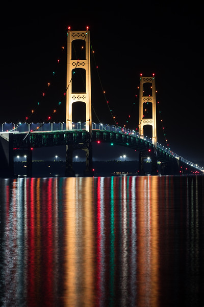 Mackinac Bridge night reflections.