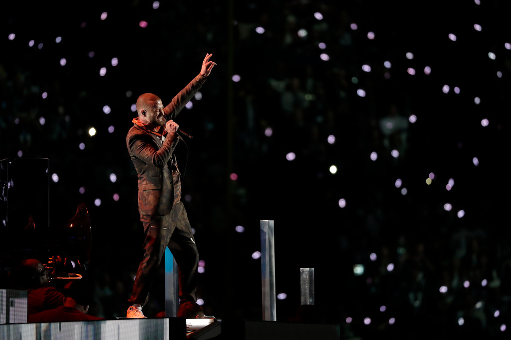 . Justin Timberlake performs during halftime of the NFL Super Bowl 52 football game between the Philadelphia Eagles and the New England Patriots, Sunday, Feb. 4, 2018, in Minneapolis. (AP Photo/Tony Gutierrez)